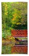 Henes Park Pond Bridge Beach Towel