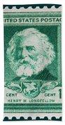 Henry W Longfellow Postage Stamp Beach Towel
