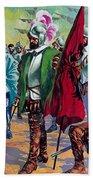 Hernando Cortes Arriving In Mexico In 1519 Beach Towel
