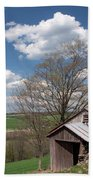 Hillside Weathered Barn Dramatic Spring Sky Beach Towel