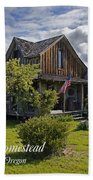 Historic 1870 Marvin Wood House With Text Beach Towel