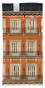 Historic Facade At Plaza Mayor In Madrid Beach Towel