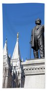 Historic Salt Lake Mormon Lds Temple And Brigham Young Beach Towel