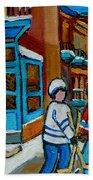 Hockey Game Corner Clark And Fairmount Wilenskys Paintings Beach Towel by Carole Spandau