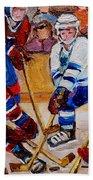 Hockey Game Scoring The Goal Beach Towel by Carole Spandau