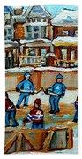 Hockey Rink Montreal Street Scene Beach Towel by Carole Spandau
