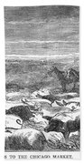 Hog Driving, 1868 Beach Towel