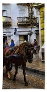 Horse And Buggy In Old Cartagena Colombia Beach Towel