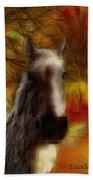 Horse On The Farm Beach Towel