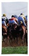 Horse Racing Rear View Of Horses Racing Beach Towel