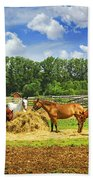 Horses At The Ranch Beach Towel