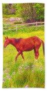 Horses Paradise Beach Towel