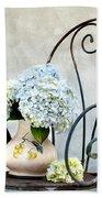 Hortensia Flowers Beach Towel