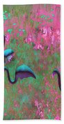 Hot Pink Flamingos Garden Abstract Art  Beach Towel