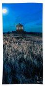 House On The Prairie Under A Full Moon Beach Towel