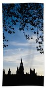 Houses Of Parliament Silhouette Beach Towel