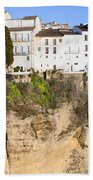Houses On A Cliff In Ronda Town Beach Towel