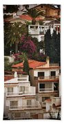 Houses On The Hill Nerja Beach Towel by Mary Machare