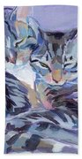 Hugs Purrs And Stripes Beach Towel by Kimberly Santini