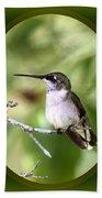 Hummingbird - Gold And Green Beach Towel