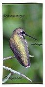 Hummingbird - Thinking Of You Beach Towel