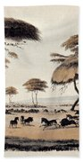 Hunting At Meritsane, Beach Towel