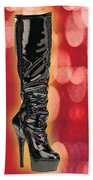 I Love The Night Life Patent Boots Beach Towel