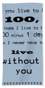 If You Live To Be 100 - Blue Beach Towel