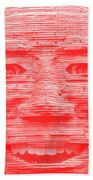 In Your Face In Negative Light Red Beach Towel