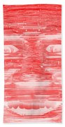 In Your Face In Negative Red Beach Towel