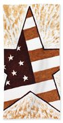 Independence Day Star Usa Flag Coffee Painting Beach Towel by Georgeta  Blanaru