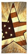 Independence Day Stary American Flag Beach Towel