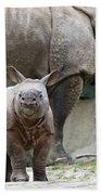 Indian Rhinoceros Rhinoceros Unicornis Beach Towel