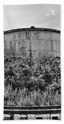 Industrial Tank In Black And White Beach Towel