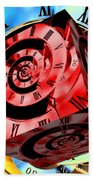 Infinity Time Cube Red On Blue Beach Towel
