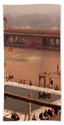 Inside Jama Masjid In The Huge Courtyard Beach Towel