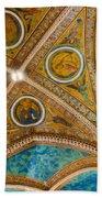 Interior St Francis Basilica Assisi Italy Beach Towel by Jon Berghoff