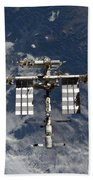 International Space Station Backgropped Beach Towel
