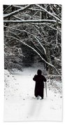 Into The Snowy Forest Beach Towel