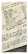 Invoice Of A Sale Of Black Slaves Beach Towel