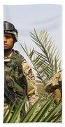 Iraqi Soldiers Conduct A Foot Patrol Beach Towel