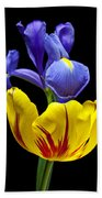 Iris And Tulip Beach Towel