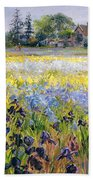 Irises And Two Fir Trees Beach Towel