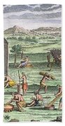 Iroquois Village, 1664 Beach Towel