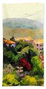 Italian Hillside Village Oil Painting Beach Towel