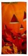 Jack-o-lantern Halloween Display Beach Towel