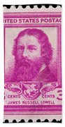 James Russell Lowell Postage Stamp Beach Towel
