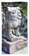 Japanese Garden Lion Dog Statue 2 Beach Towel