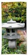 Japanese Garden Stone Snow Lantern Beach Towel