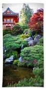 Japanese Garden With Pagoda And Pond Beach Towel